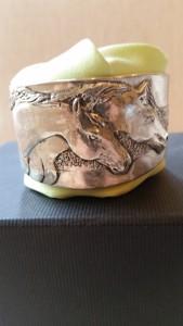 Pewter Bracelet Two Horses